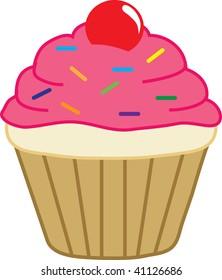 Clip art illustration of a cupcake.