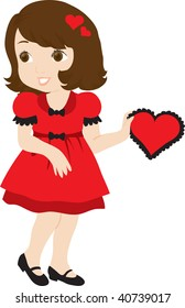 clip art illustration of a cute little girl all dressed up for valentines day and holding a valentine heart.