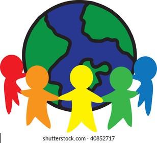 clip art illustration of an environmental unity icon.