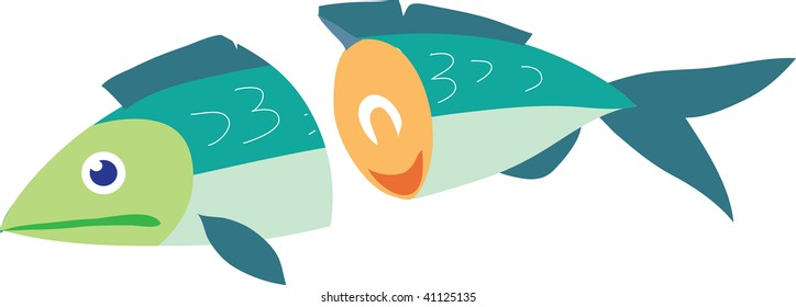 Clip art illustration of a fish cut in half.