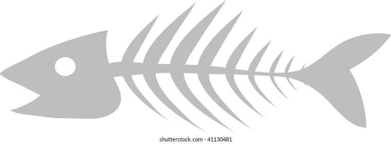 Clip art illustration of a fish skeleton.