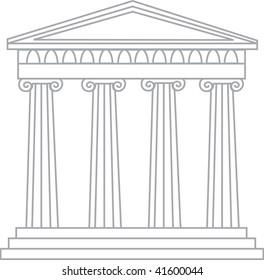 Clip art illustration of a grecian temple