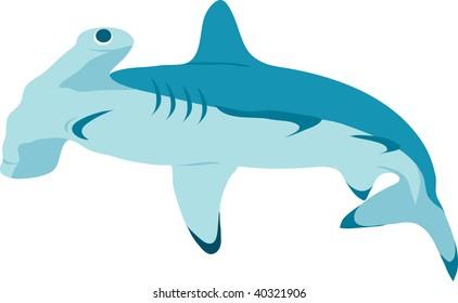Clip art illustration of a hammerhead shark.