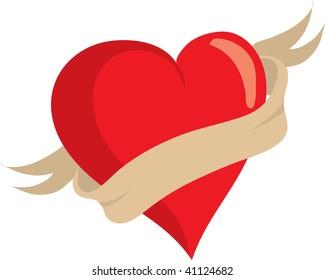 Clip art illustration of a heart with a banner.