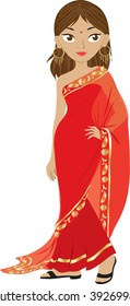 Clip art illustration of an Indian woman wearing a red sari.