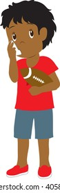 Clip art illustration of a little boy using an inhaler.
