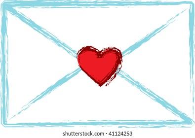 Clip art illustration of a love letter.