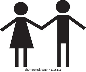Clip art illustration of a male and female holding hands.