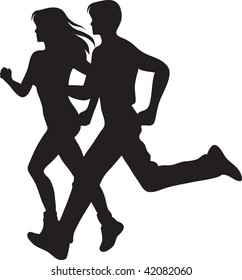 Clip art illustration of a man and woman running.