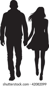 Clip art illustration of a man and woman walking and holding hands.