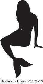 Clip art illustration of a mermaid silhouette.