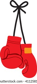 Clip art illustration of a pair of red boxing gloves.