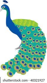 Clip art illustration of a peacock.