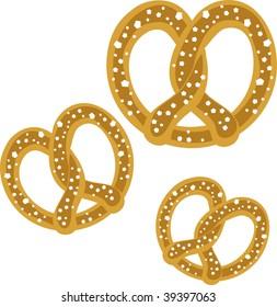 Clip art illustration of pretzels.
