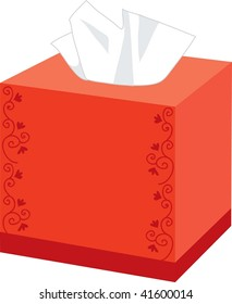 Clip art illustration of a red box of tissues