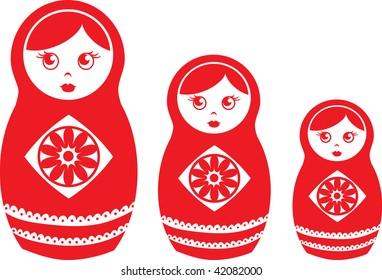 Clip art illustration of red matryoshka dolls.