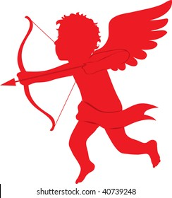 clip art illustration of a red silhouette of cupid shooting an arrow.