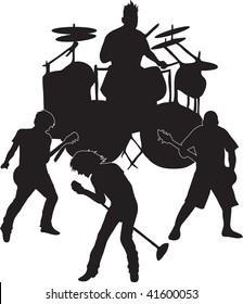 Clip art illustration of a rock band