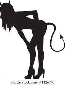 Clip art illustration of a sexy devil girl