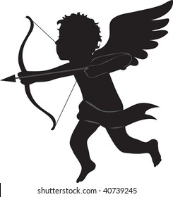 clip art illustration of a silhouette of cupid.