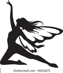 Clip art illustration of a silhouette of a fairy.