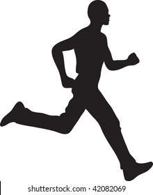 Clip art illustration of a silhouette of a man running.