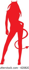 Clip art illustration of a silhouette of a sexy devil woman.