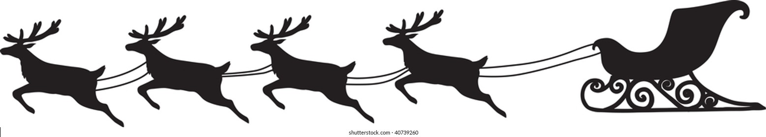 clip art illustration of a sleigh being pulled by four reindeer.