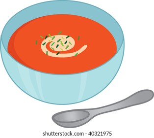 Clip art illustration of tomato soup.