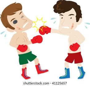 Clip art illustration of two men boxing.