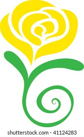 Clip art illustration of a yellow rose.