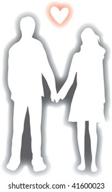 Clip art illustration of a young couple holding hands