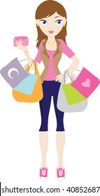 clip art illustration of a young woman shopping and holding several shopping bags.