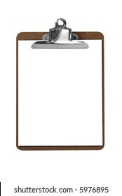 Clip board with blank paper isolated over white with a clipping path