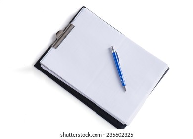 Clip board with blank paper and a pen