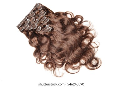 Clip in body wave brown human hair extensions