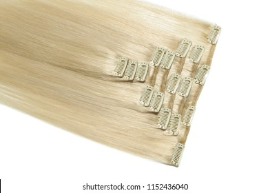 Clip in straight bleached blonde human hair extensions