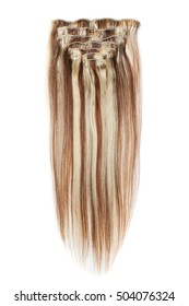 clip in straight  dark brown mix with dark blonde highlights  human hair extensions