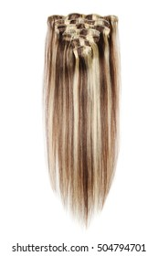 clip in straight dark brown mix  blonde highlights human hair extensions