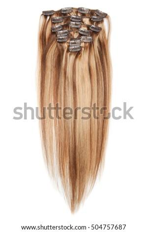 Clip Straight Medium Brown Hair Golden Stock Photo Edit Now