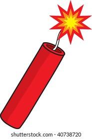 clipart illustration of a lit stick of dynamite