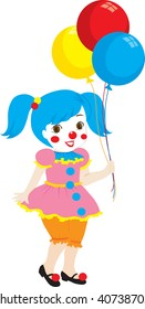 clipart illustration of a little girl dressed up as a circus clown holding balloons