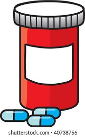 clipart illustration of a red bottle of perscription pills