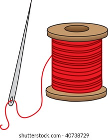 clipart illustration of a sewing needle and a spool of red thread