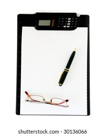 Clipboard with ball pen and calculator