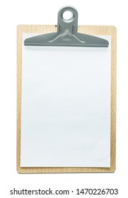 clipboard with blanc white sheet of paper isolated