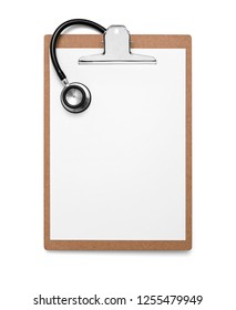 Clipboard with blank paper and stethoscope on white background, included clipping path