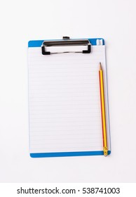 Clipboard with blank white and pencil isolated  on white...