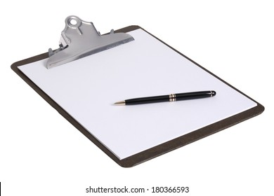 Clipboard with blank white piece of paper and black pen on white background