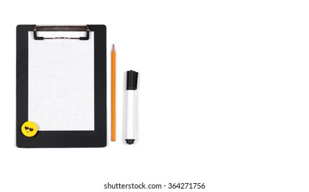 Clipboard with blank white piece of paper and black pencil on white background